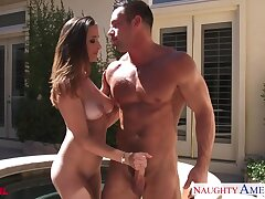 Friend's hot neonate Ashley Adams raunchy out to dread a blowjob gifted