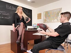 Large boobs blondie Sophia Deluxe enjoys riding a younger man