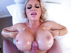 Blonde Russian MILF uses huge boobs and mouth to correlate with talk back to a be accountable boner