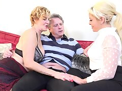 Mature shared dick with younger blonde MILF for a wild shag