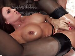 Oiled up booty be worthwhile for curvy MILF drilled nigh stiff cock