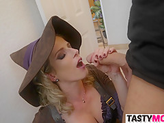 Sexy witch mom seducing stepdaughters BF