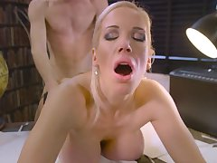 Excellent porn encounter at work with blonde Rebecca Moore