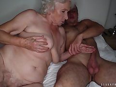 Grandma sucks a stiff cock with an increment of gets pounded on