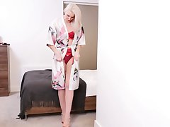 Mature blond housewife Lexi Lou gets naked and masturbates pussy with vibrator