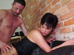 German mature wife takes hard dick in stretched in the final hole cowgirl style