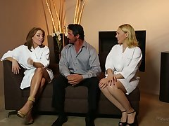 All lubed horny masseuse Britney Amber thirsts to know MFF threesome