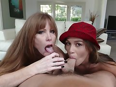 Milf joins a young couple for a BJ trine