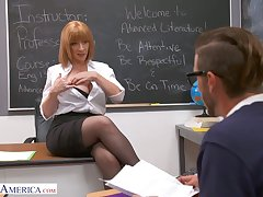 Lewd and rapacious MILFie crammer Sara Jay lures stud to be fucked liberally