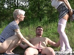 abroad threesome in the wood is amazing adventure for amazing light-complexioned