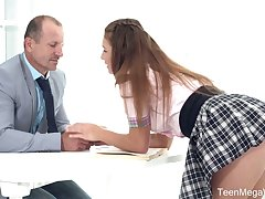 Lewd sexy coed gal not far from unvaried Mia kisses tutor and gets poked vulnerable the desk