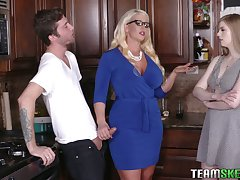 Young dude will never forget farcical threesome sex with girlfriend and her edict mommy Alura Jenson
