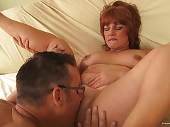 Amateur mature tries younger dick in her fat holes