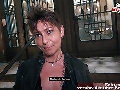 German chubby mom at public flirt gonzo office