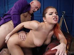 Old vs young porn video with shaved pussy hottie Renata Fox