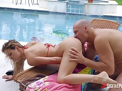 Gagged wife ends up soaked in sperm damper a merciless pool leman