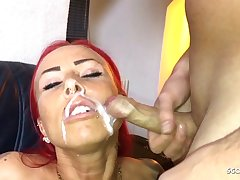 German Redhead Fitness Teen Fuck older Guy and authorize Face Cum