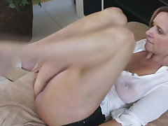 Spanish MILF in untidy t-shirt fucks very hot