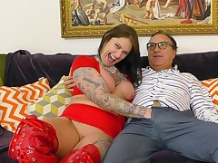 Beamy ass catholic plays with the senior cock quite rough