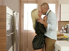 Marvelous busty blonde babe Tiffany Rousso stands on knees for oral sex