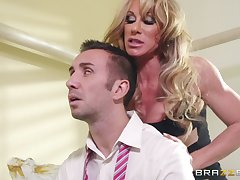 Curvy MILF wife Farrah Dahl gives head and rides her neighbor