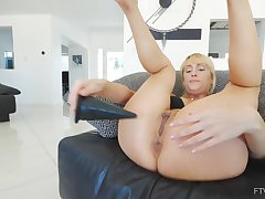 Naughty blonde wife Maxim loves poking her tight ass and stained pussy