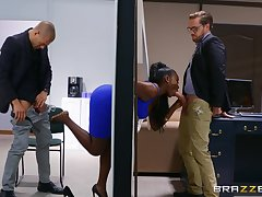 Ebony with thick curves, insane office threesome