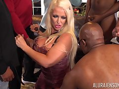Stiffly ass cougar Alura Jenson is fucked by several black guys