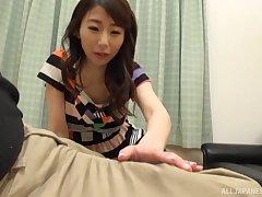 Nice tits Japanese girl Shinoda Ayumi gives a titjob in POV