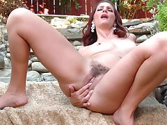 Video of solo redhead Alicia Silver playing with the brush wet pussy
