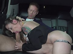 Rocco ass fucks babe on the back seat after gagging her