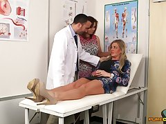 Naughty doctor gets his dick stroked at the end of one's tether Charlie Holays & Lissa Love