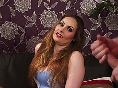 Expressive Sophia Delane shames a naked guy's endowment