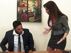 Sexy milf boss Syren De Mer exploits employee for locate hd