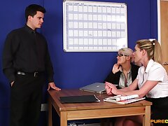Blonde office MILFs are pleased to share the dick helter-skelter such action