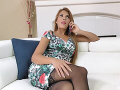 Wild fucking on the sofa with shaved pussy cutie Mercedes Carrera