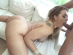 Long-haired Klara Gold gets naked and takes cock for a urgency
