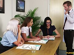 Fine babes garden plot cock at the office during a kinky CFNM tryout