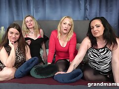 Dirty matures team up to have sex with one handsome stud. POV