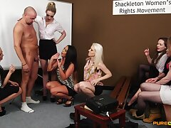 Energized women allotment their lustful CFNM play exceeding cam