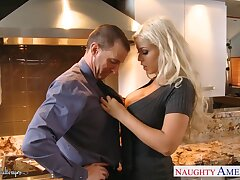 Dazzling heavy breasted blonde MILF Bridgette B gives fantastic titjob