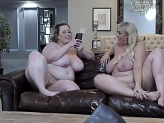 Two BBWs eat each other out before playing with a black outside of
