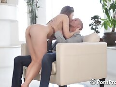 Busty temptress Lena Paul worships 12 inch phallus be fitting of her new lover