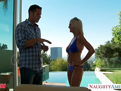 Busty blonde lassie with arrogantly ass Emma Starr is happy take be fucked constant