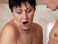 Horny granny enjoys steamy enunciated session with a younger guy