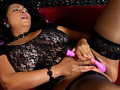 Naughty wife Danica Collins takes off will not hear of panties and uses a vibrator